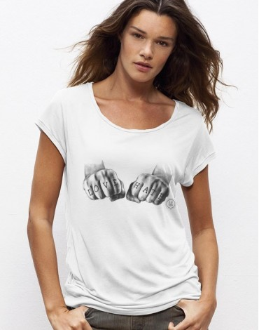 T-Shirt Large Neck Love Hate