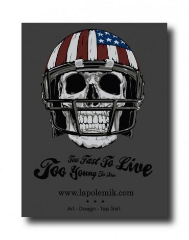 Sticker American Football Skull