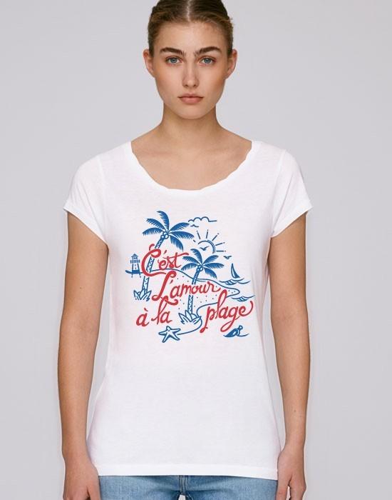 T-Shirt Col Bateau C'est L'amour A La Plage