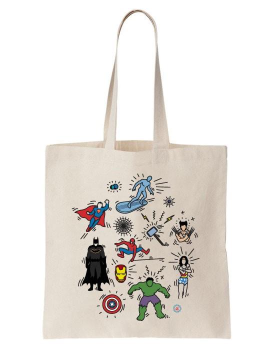 Tote Bag Pop Art Heroes