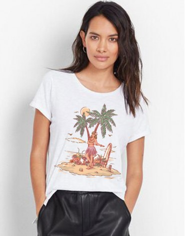 T-Shirt Large Neck Hawaienne