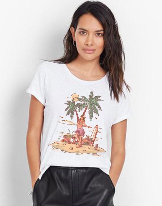T-Shirt Col Bateau Hawaienne