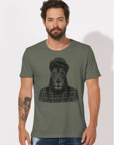 T-Shirt Col Large Lion Hipster